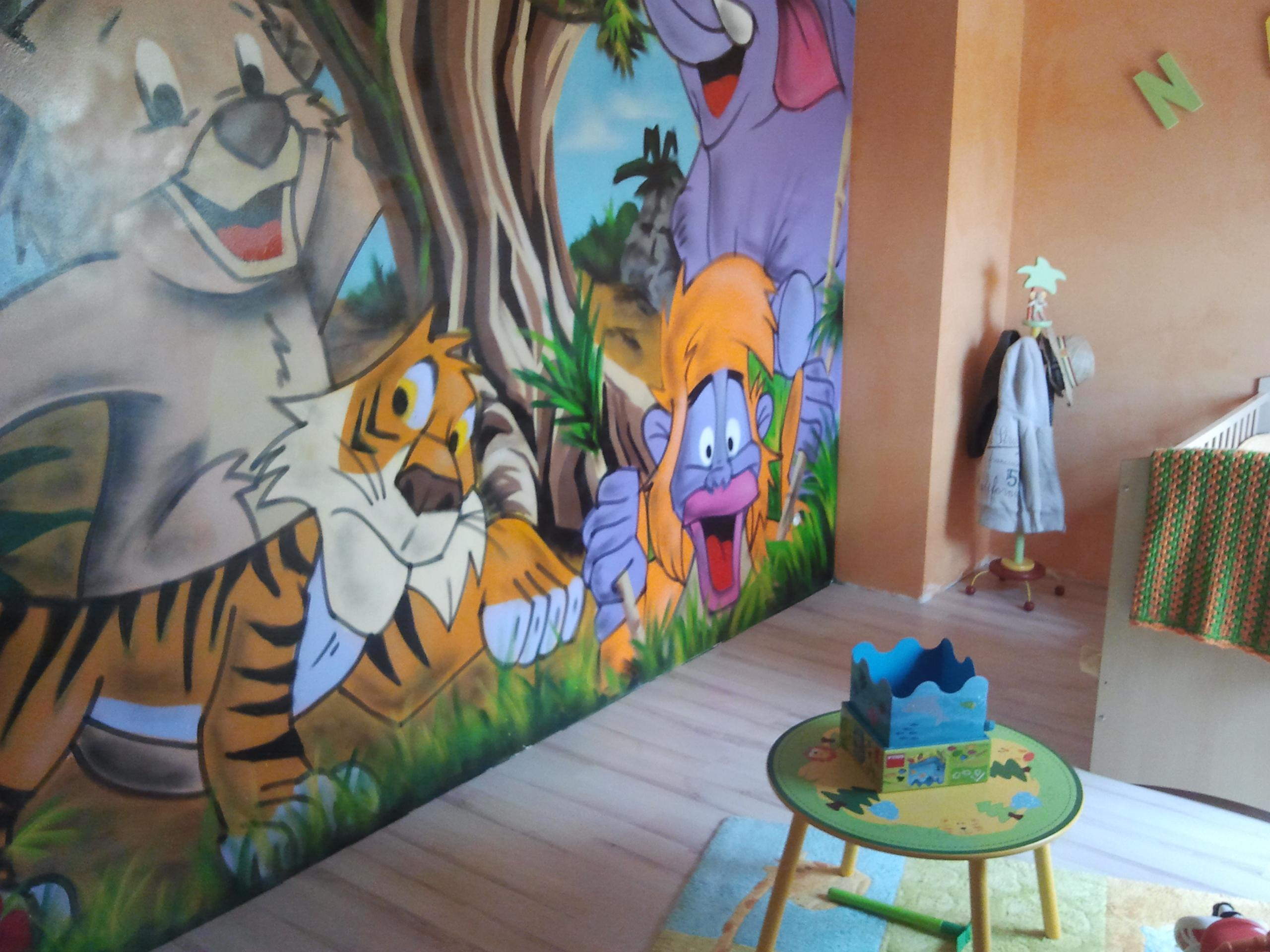 Pierre kerihuel moka d coration graffiti fresques murales for Decoration chambre le roi lion